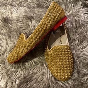 Revamped red bottom gold sparkle spike flats